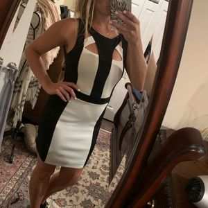 Black and white cutout dress